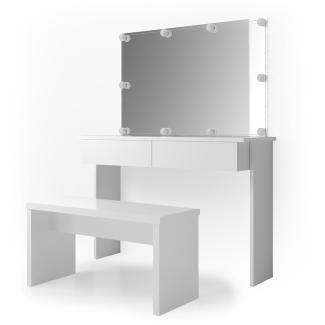 Vicco 'Azur' Schminktisch, Weiß Hochglanz, inkl. Sitzbank, Spiegel und LED-Lichterkette