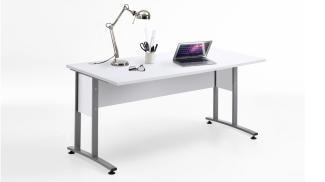 Schreibtisch 'CALVIA 2', weiß mit Metallkufen 160x80 cm