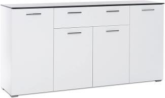 Kommode 'MAGIC', weiß, Hochglanz, Beton dunkel, 160 cm