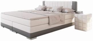 SalesFever Bett Boxspringbett 200 x 200 cm LED weiß/grau Kunstleder Holz