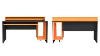 Computertisch, Gamingtisch 2 TEZAUR PC-Tisch schwarz orange inkl. LED