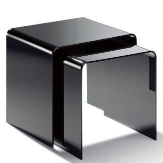 2er-Set Beistelltisch, Acryl-Glas, schwarz