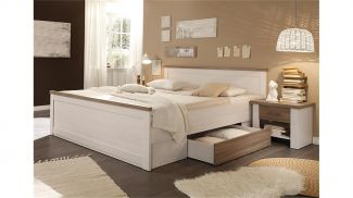 LUCA Pinie Weiß Nb. Bettanlage Doppelbett Ehebett Bett Gästebett 180 x 200 cm inkl. Schubladen & 2 Nachtkommoden ohne Kleiderschrank