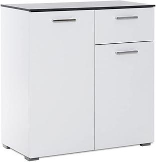 Kommode 'MAGIC', weiß, Hochglanz, Beton dunkel, 80 cm