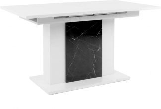 'Brügge' Esstisch, weiß mit Marmor-Optik, Hochglanz, ausziehbar 140 - 180 cm