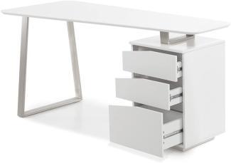 'Tori' Schreibtisch matt weiß Lack 150 cm