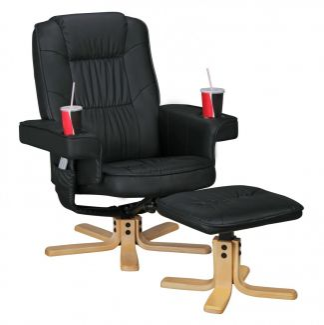 'RELAX DUO' Relaxsessel, Fernsehsessel drehbar mit Hocker und Getränkehalter, schwarz, aus Kunstleder