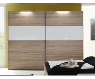 Wimex 'Easy Plus' Kleiderschrank, Schwebetürenschrank, Eiche Sägerau Dekor/Echtglas weiss, inkl. Glasauflage, ca. 225 cm