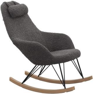 Schaukelstuhl Holz, Metall und 100 % Polyester Grau
