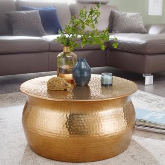 Couchtisch KAREM 60x30,5x60cm Aluminium Beistelltisch orientalisch rund