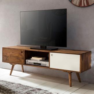 TV Lowboard 140 cm Massiv-Holz Sheesham Landhaus 2 Türen & Fach