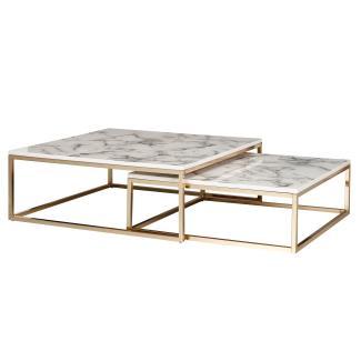 Design Satztisch, Couchtisch 2er Set weiß/gold Marmor Optik Eckig, Tischgestell Metall
