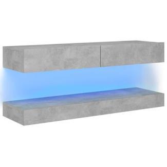 TV-Schrank mit LED-Leuchten Betongrau 120x35 cm