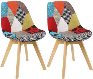 2er-Set Esszimmerstühle aus Holz mit Leinenbezug Designer Modell Lisa