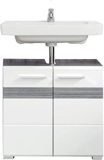 Waschbeckenunterschrank SetOne Hochglanz weiß und Sardegna grau 60 x 56 cm