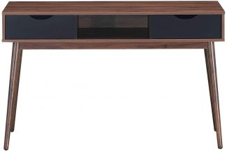 COSTWAY Schreibtisch mit offenem Fach und 2 Schubladen, Vintage, Bueürotisch
