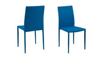 Stapelstuhl 'PIANA' 4er Set Esszimmerstuhl blau