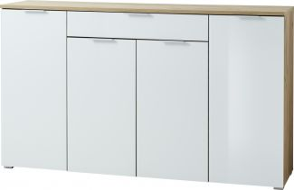 Sideboard 'GW-TELDE', Hochglanz Weiß/ Navarra Eiche, ca. 180x105x40cm