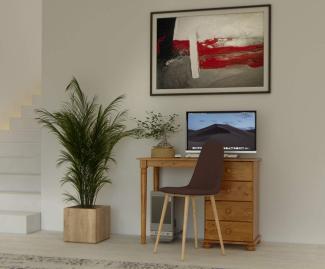 'Richmond 375' Schmink-Schreibtisch, braun, Kiefer gebeizt lackiert