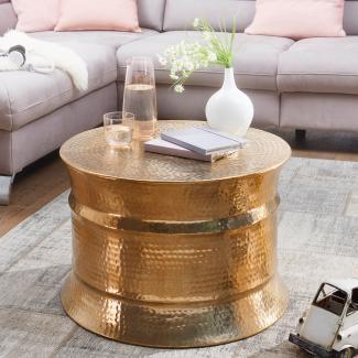 Couchtisch KAREM 62 x 41 x 62 cm Aluminium Beistelltisch orientalisch rund