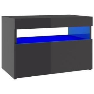 TV-Schränke mit LED-Leuchten 2 Stk. Hochglanz-Grau 60x35x40cm