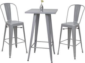 Set Stehtisch + 2x Barhocker HWC-A73 Metall Industriedesign ~ grau