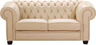 Chandler Sofa 2-Sitzer Polyurethan Beige Buche Nussbaumfarben