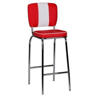 Barhocker KING American Diner 50er Jahre Retro weiß/rot
