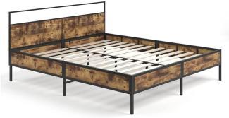 Vitalispa Bettgestell Doppelbett Metallbett Fyrk Holz-Optik 180x200 Lattenrost