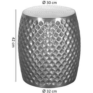'SATI' Beistelltisch, Aluminium, silber, 32 x 42 x 32 cm