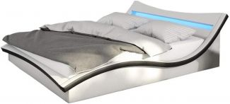 SalesFever Bett Polsterbett 180 x 200cm LED Kunstleder weiß, schwarz