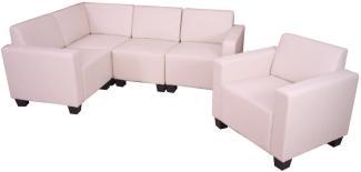 Modular Sofa-System Couch-Garnitur Lyon 4-1, Kunstleder ~ creme