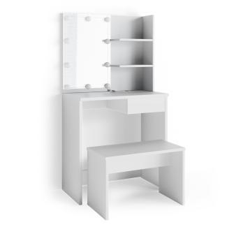 Vicco 'Dekos' Schminktisch, Weiß, inkl. Sitzbank und LED-Lichterkette, mit Spiegel