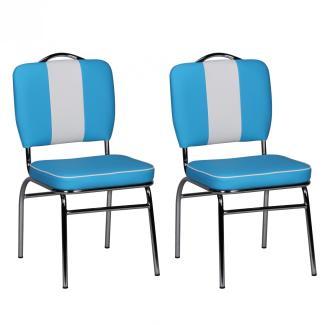 2er-Set Esszimmerstuhl 'ELVIS' American Diner 50er Jahre Retro   Sitzfläche gepolstert mit Rücken-Lehne blau/weiß