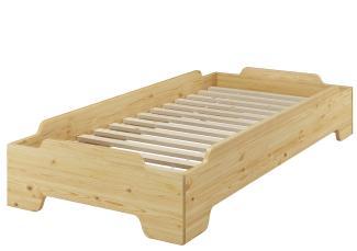 Erst-Holz Stapelbett, natur, 100x190 cm inkl. Rollrost