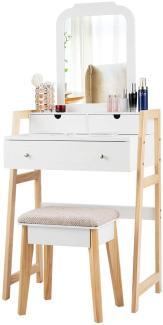COSTWAY Schminktisch weiß/kiefer mit gepolstertem Hocker, 3 Schubladen und einstellbarem Spiegel