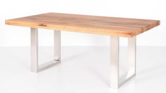 Esstisch LYNN 220x100 cm Tisch in Balkeneiche massiv und Edelstahl