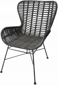 Stuhl RATTAN, schwarz, ca. 60/88/70 cm