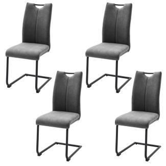 4er-Set Schwingstuhl 'Adana' - Webstoff Grau