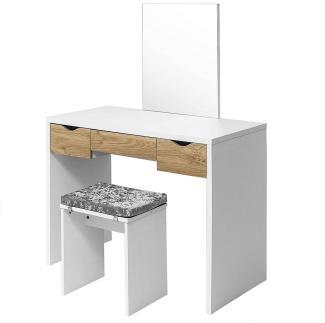 Woltu Schminktisch-Set weiß/eiche mit 3 Schubladen und Hocker mit Sitzkissen
