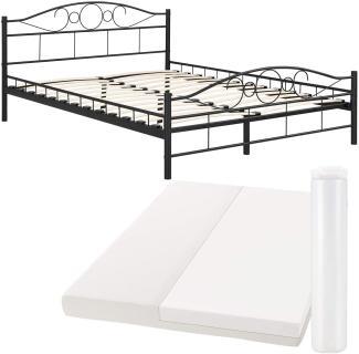 Metallbett Toskana 140 x 200 cm schwarz mit Matratze - Bett mit Lattenrost und Kaltschaummatratze