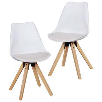 2er-Set Esszimmerstühle Skandinavische Stühle mit Holzbeinen weiß
