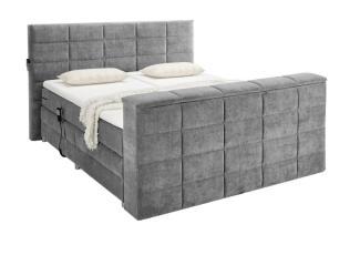 'DENVER 6' Boxspringbett, dark grey mit TV-Halterung, 180 x 200 cm