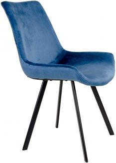 2er-Set Velours Esszimmerstuhl 'Drew' in blau