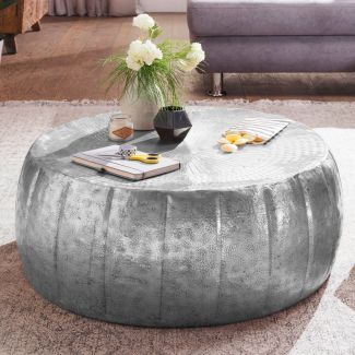 Couchtisch JAMALI 72x31x72cm Aluminium Beistelltisch orientalisch rund