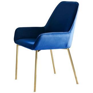 SalesFever Stuhl Esszimmerstuhl 2er Set blau Samt Metall, Samt L = 56 x B = 54 x H = 90 blau