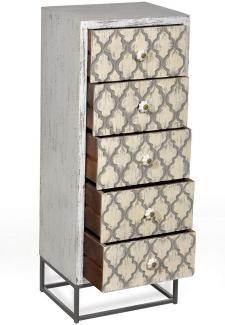 Sit Möbel Mahal Kommode antikweiß mit beige/schwarzer Front