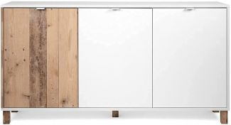 Sideboard Menorca weiß und Used Wood Shabby hell 160 x 86 cm