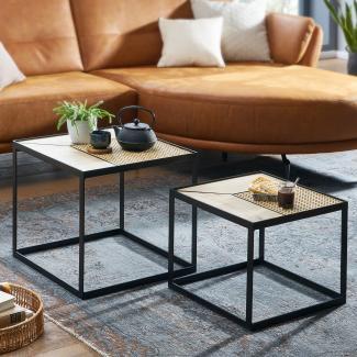 Design Beistelltisch, Wohnzimmertisch 2er Set Mango / Rattan Eckig, mit Metallbeine