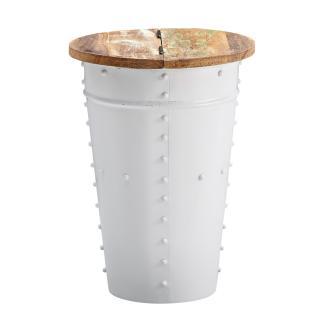 Beistelltisch, weiß, Mango Massivholz/Metall, Industrial Style, 36x50x36 cm